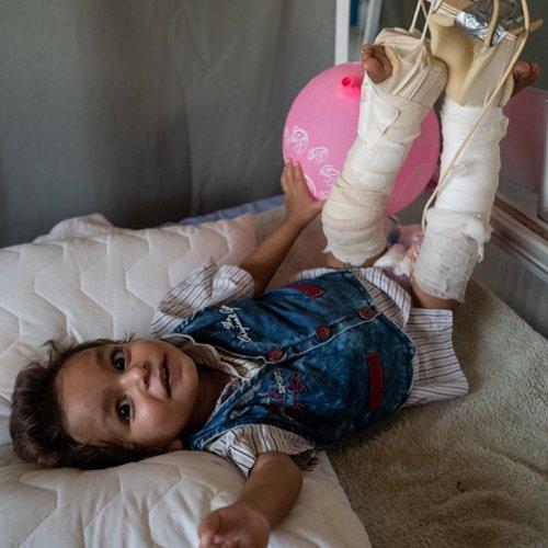 Khaled på feltsykehuset i Al Hol Foto: Olav A. Saltbones/Røde Kors